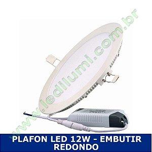 Painel Plafon Led 12W Embutir Ultra Slim Branco Frio - Ledilumi