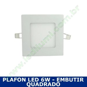 Painel Plafon 6w luminaria led quadrado embutir ultra slim - Ledilumi
