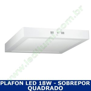 Painel Plafon Led 18W Sobrepor Branco Frio Quadrado - Ledilumi