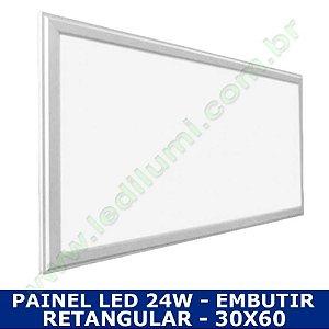 Painel Led 30X60 36W Embutir Retangular Branco Frio - LedIlumi
