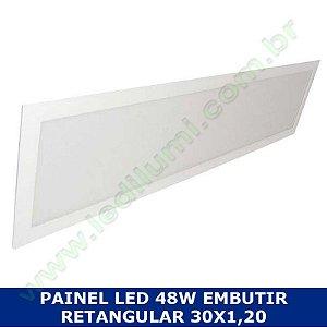 Painel Led 30X1,20 48W Embutir Retangular Branco Frio - LedIlumi