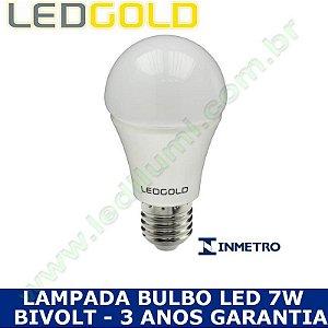 Lampada Bulbo Led 7W Branco Frio 6000K - INMETRO