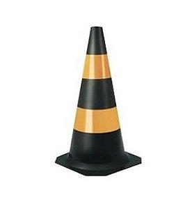Cone de Sinalização Emborrachado Flexível - Preto e Amarelo