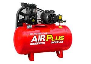 Compressor Air Plus 3HP 15 Pés 100L 140PSI 110/220V Monofásico - SCHULZ