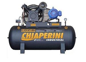 Compressor de Ar Monofásico 20PCM 200 Litros com Motor 5HP 220/440V IP55 Blindado - CHIAPERINI