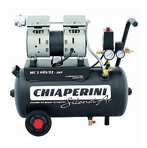 Motocompressor de ar Silencioso 21 litros 1HP - Chiaperini SilenciAR MC 5 Pés /21 1HP - 220V