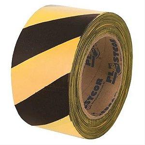 Fita Zebrada - Preto/Amarelo - 200mts - Plastcor
