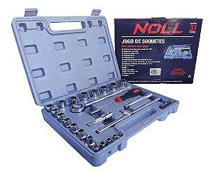 Jogo de Soquetes Estriados com 31 peças de 1/4 e 1/2 pol - Noll