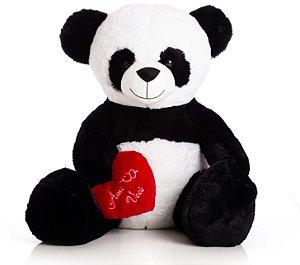 Urso de Pelúcia Panda Coração GG 65cm