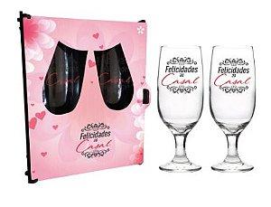 Dupla de Taças floripa na caixa MDF - Felicidades ao casal