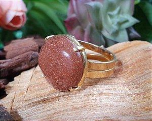 Anel ajustável dourado - Pedra do Sol