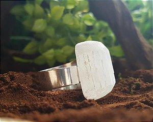 Anel ajustável prata - Selenita