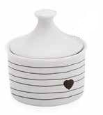Açucareiro com tampa cerâmica 250ml - Coração Preto