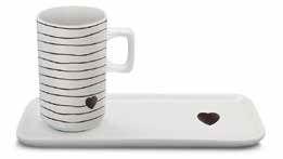 Jogo de Café Cerâmica 100ml e pires retangular - Coração preto