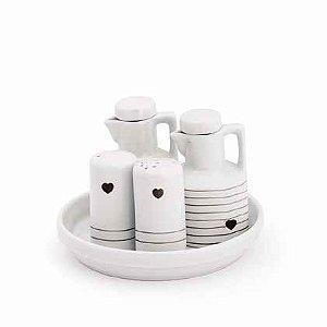 Jogo galheteiro cerâmica 5 peças - Corações Preto