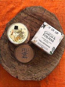 Vela Perfumada artesanal 100g - Cascas e Folhas