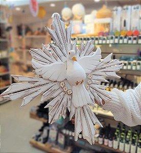 Divino Espírito Santo de Madeira com flores 53x53cm