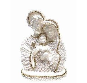 Busto Sagrada Família com perolas 30cm - Branca