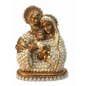 Busto Sagrada Família com perolas 30cm - Dourada