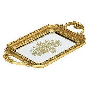 Bandeja Clássica Dourada Tachas
