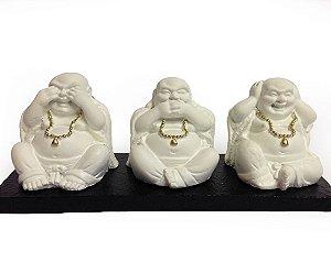 Estátua Decorativa - Trio Budas Nada Vejo, Nada Falo, Nada Ouço