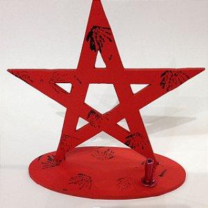 Incensário em Madeira MDF Pentagrama Laranja