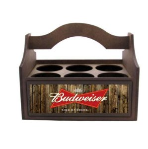 Porta Long Neck/Copo em Madeira - Budweiser