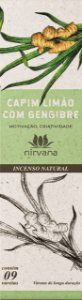 Incenso Natural 9 varetas Nirvana - Capim Limão e Gengibre