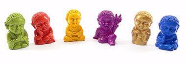 Mini Budas Vibrações Colorido – Conjunto Com 6  - 4x2cm