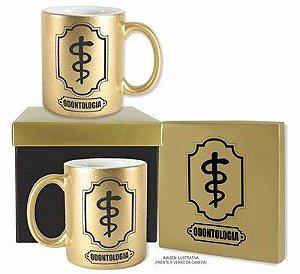 Caneca Dourada com caixa- Odontologia