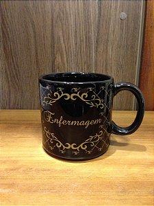 Caneca Cerâmica preto/dourado - ENFERMAGEM