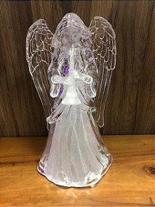 Anjo com Luz plástico transparente - Flauta
