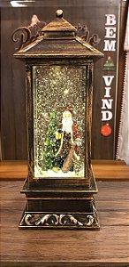 Lanterna com Luz e Flocos de neve- Papai Noel