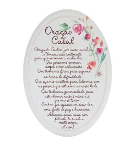 Placa Oval floral- Oração do casal