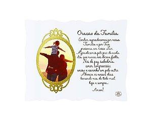 Porta Retrato dourado  10x15- Oração da Família