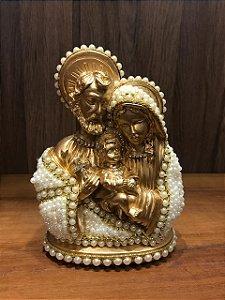 Sagrada Família gesso com perolas dourado