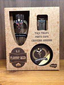 Kit classic beer Taça+ chaveiro/abridor de garrafa+ porta copos- CIÊNCIAS CONTÁBEIS