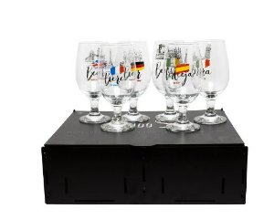 Kit 6 taças Oro para Cerveja 370ml com caixa MDF - Países