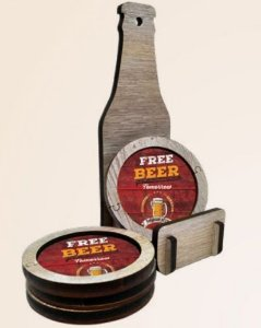 Garrafa MDF para suporte de Porta Copos - Free Beer