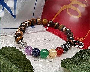 Pulseira Pedras dos 7 Chakras Mão de Fátima