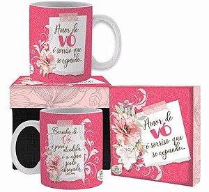 Caneca cerâmica com Caixa- Amor de Vó é sorriso....