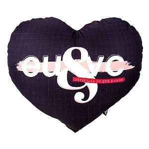 Almofada shape coração com foto - Eu & Você definição do amor