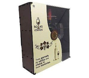 Kit 2 taças de Vinho + Vinho 750ml na caixa MDF