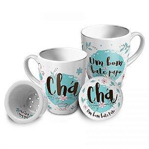 Caneca com Infusor Porcelana - Chá, Um bom papo