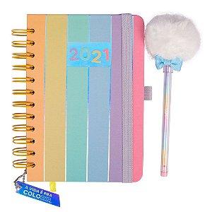 Agenda 2021 com caneta pompom- Cores