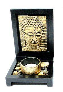 Porta velas com jardim pedras - Buda