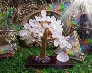 Árvore de Pedra com base Madeira - Cristal
