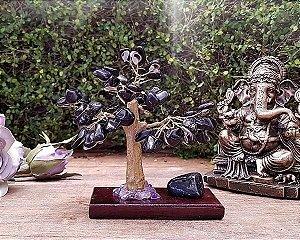 Árvore de Pedra com base Madeira - Turmalina Negra