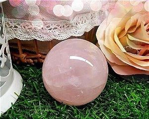 Esfera de Quartzo Rosa com apoio