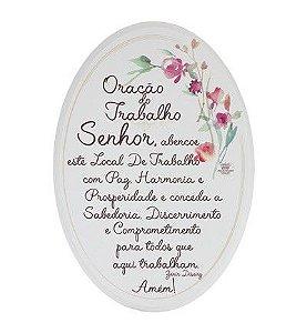 Placa Oval floral- Oração do Trabalho